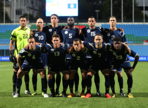 Guam's starting eleven players pose for a photo before the teams' FIFA international friendly against Singapore at the Jalan Besar Stadium in Singapore Tuesday. Front row from left to right are Justin Lee, Ryan Guy, Alexander Lee, John Matkin, and Shane Malcolm. Back row from left to right are Dallas Jaye, Jason Cunliffe, Mason Grimes, Brandon McDonald, Shawn Nicklaw, and Nathaniel Lee.