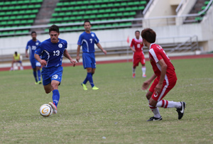 The Matao's Ryan Guy races toward the goal during a FIFA international friendly match against Laos. Guam drew 1-1 with Laos.
