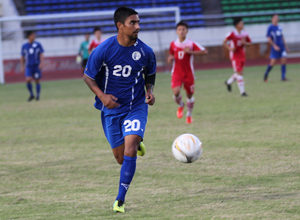 The Matao's A.J. DeLaGarza looks to pass the ball during a FIFA international friendly match against Laos. Guam drew 1-1 with Laos.