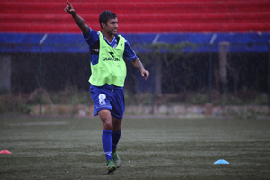 Guam's A.J. DeLaGarza engages in a training drill during a practice session with the Matao in Bangalore, India. The Matao is set to play India on Nov. 12 for its sixth match of the 2018 FIFA World Cup Russia and AFC Asian Cup UAE 2019 Preliminary Joint Qualification Round 2. The team will return to Guam for a Nov. 17 match against I.R. Iran.