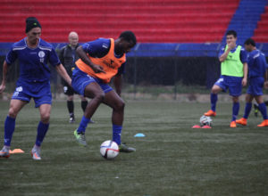 Guam's Jason Cunliffe and Brandon McDonald engage in a training drill during a practice session with the Matao in Bangalore, India. The Matao is set to play India on Nov. 12 for its sixth match of the 2018 FIFA World Cup Russia and AFC Asian Cup UAE 2019 Preliminary Joint Qualification Round 2. The team will return to Guam for a Nov. 17 match against I.R. Iran.