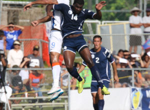 Guam's Brandon McDonald and India's Robin Singh fight for a header during a 2018 FIFA World Cup Russia and AFC Asian Cup UAE 2019 Joint Qualification Round 2 match at the Guam Football Association National Training Center Tuesday. Guam defeated India 2-1.