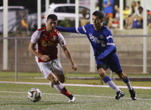 The Payless Supermarkets Strykers FC's Dylan Naputi makes a move to the goal in a 2014-2015 Budweiser Soccer League Division I match against Guam Shipyard.