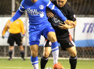 Guam Shipyard's Micah Paulino controls the ball before making a move to turn to the goal in a 2014-2015 Budweiser Soccer League Division I match against Doosan FC.