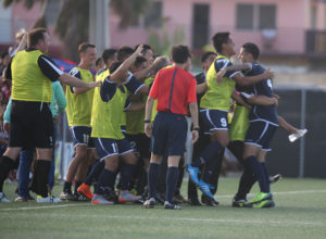 Guam's Travis Nicklaw celebrates with teammates after scoring the eventual game winner against India during a 2018 FIFA World Cup Russia and AFC Asian Cup UAE 2019 Joint Qualification Round 2 match at the Guam Football Association National Training Center Tuesday. Guam defeated India 2-1.