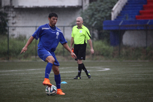 Guam's Dylan Naputi engages in a training drill during a practice session with the Matao in Bangalore, India. The Matao is set to play India on Nov. 12 for its sixth match of the 2018 FIFA World Cup Russia and AFC Asian Cup UAE 2019 Preliminary Joint Qualification Round 2. The team will return to Guam for a Nov. 17 match against I.R. Iran.