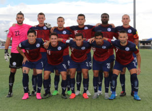 Guam's starting 11 players pose for a photo before its home fixture against Oman in a match of the 2018 FIFA World Cup Russia and AFC Asian Cup UAE 2019 Preliminary Joint Qualification Round 2 at the Guam Football Association National Training Center Sept. 8. In the photo are, front row from left to right: Jonahan Romero, Ryan Guy, Alexander Lee, A.J. DeLaGarza, and John Matkin. Back row from left to right are: Dallas Jaye, Jan-Willem Staman, Justin Lee, Shawn Nicklaw, Brandon McDonald, and Jason Cunliffe.