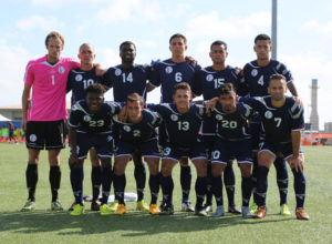 Guam's national team, the Matao, pose for a starting 11 photo before its match against India in a 2018 FIFA World Cup Russia and AFC Asian Cup UAE 2019 Joint Qualification Round 2 match at the Guam Football Association National Training Center Tuesday. Front row from left to right are: Shane Malcolm, Alexander Lee, Ryan Guy, A.J. DeLaGarza, and John Matkin. Back row from left to right are Doug Herrick, Jason Cunliffe, Brandon McDonald, Mason Grimes, Shawn Nicklaw, and Travis Nicklaw.
