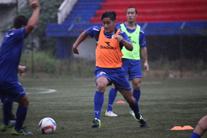 Guam's Ian Mariano engages in a training drill during a practice session with the Matao in Bangalore, India. The Matao is set to play India on Nov. 12 for its sixth match of the 2018 FIFA World Cup Russia and AFC Asian Cup UAE 2019 Preliminary Joint Qualification Round 2. The team will return to Guam for a Nov. 17 match against I.R. Iran.