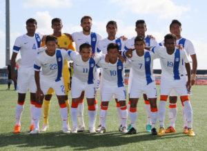 India's national team pose for a starting 11 photo before its match against Guam in a 2018 FIFA World Cup Russia and AFC Asian Cup UAE 2019 Joint Qualification Round 2 match at the Guam Football Association National Training Center Tuesday. Front row from left to right are: Lalchhuanmawia, Sunil Chhetri, Jackichand Singh Telem, Eugeneson Lyngdoh, and Vineeth Chekiyot Kizhakkevettil. Back row from left to right are Arnab Kumar Mondal, Paul Subrata, Robin Singh, Anto Rino, Sehnaj Singh, and Seihaorungbam Dhanachandra Singh.