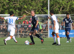 Guam's Jason Cunliffe controls the ball facing defensive pressure from India's Sehnaj Singh during a 2018 FIFA World Cup Russia and AFC Asian Cup UAE 2019 Joint Qualification Round 2 match at the Guam Football Association National Training Center Tuesday. Guam defeated India 2-1.