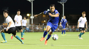 Guam Matao's Marcus Lopez controls the ball as he makes his way to the goal against Macau in an opening day match of the EAFF East Asian Cup Round 1 at the Guam Football Association National Training Center. Guam and Macau battled to a scoreless draw.