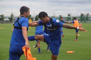 Guam national football team players Mason Grimes (left) and Travis Nicklaw (right) pair up for a warm up activity during a recent Matao training session at J-GREEN Sakai in Osaka, Japan. Grimes, Nicklaw, and the rest of the team engaged in a one-week training camp at the Japan training facility ahead of its 2018 FIFA World Cup Russia and AFC Asian Cup UAE 2019 Joint Qualification Round 2 match against I.R. Iran, scheduled for Sept. 3 at Azadi Stadium. The team is scheduled to depart Monday evening to Tehran.