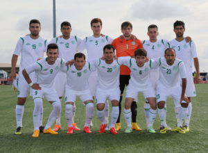 Turkmenistan's starting eleven players pose for a photo before the team's opening match of its 2018 FIFA World Cup Qualifier bid at the Guam Football Association National Training Center. First row from left to right are Muhadov Suleyman, Abylov Guvanch, Orazov Suleyman, Atayev Serdarali, and Hojaahmedov Bahtiyar. Back row from left to right are Atayev Ahmet, Annaorazov Serdar, Saparov Mekan, Gorbunov Nikita, Rahim Baltayev, and Soyunov Shohrat. Guam defeated Turkmenistan 1-0.